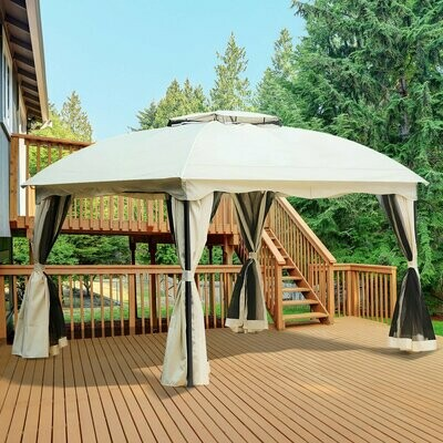 Outsunny® Gartenpavillon Pavillon Festzelt Partyzelt wetterfest mit Moskitonetz Laternhacken Cremeweiss 3x3,65x2,75 m