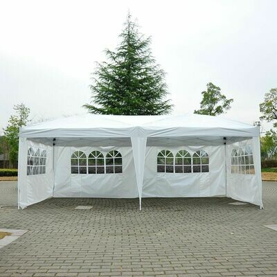Outsunny® Faltpavillon Pavillon Partyzelt Gartenzelt inkl. 4 Seitenteile Weiß 3x6m