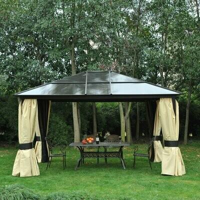 Outsunny® Luxus Pavillon 4,3m x 3,6m Gartenpavillon Alu Polycarbonat