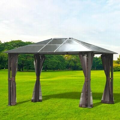 Outsunny® Pavillon Gartenpavillon Partyzelt mit Moskitonetz PC Dach Alu Braun