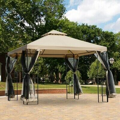 Outsunny® Gartenpavillon Pavillon Festzelt Partyzelt wetterfest Zelt mit 4 Ablagen Beige 3 x 3 m