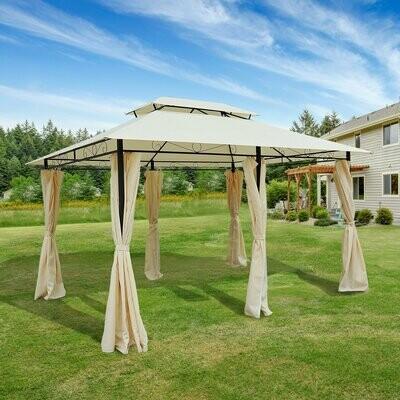 Outsunny® Pavillon Gartenzelt Doppeldach 3x4m Milchweiss