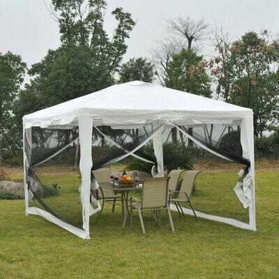 Outsunny® Pavillon Partyzelt mit Moskitonetz-Seitenwänden 4x3m
