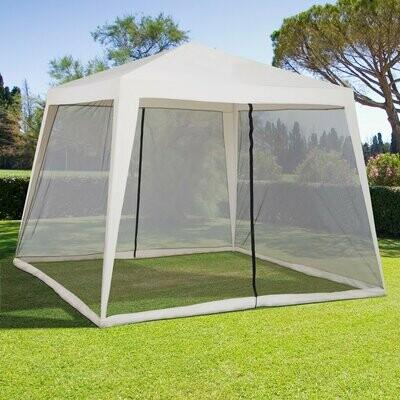 Outsunny® Gartenpavillon Pavillon Festzelt Partyzelt wetterfest Zelt mit Moskitonetz Beige 3 x 3 m