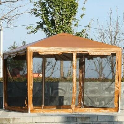 Outsunny® Gartenpavillon Pavillon Festzelt Partyzelt Gartenzelt Zelt mit Moskionetz Kaffee