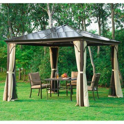 Outsunny® Luxus Pavillon Alu Partyzelt mit lichtdurchlässigem PC Dach