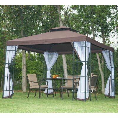 Outsunny® Pavillon Gartenpavillon Partyzelt Doppeldach 3x3m