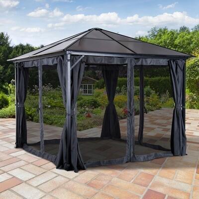 Outsunny® Luxus Pavillon Gartenpavillon mit Seitenteilen PC Dach Alu