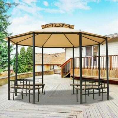 Outsunny® Gartenpavillon Pavillon Festzelt Partyzelt wetterfest Zelt mit Polstersitzbank Hellbraun ∅3,8 x 2,65m