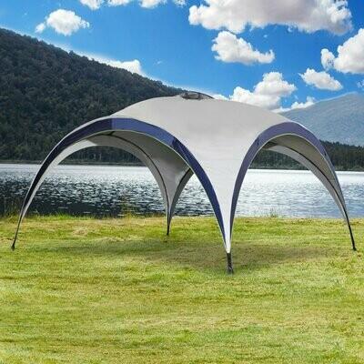 Outsunny® Garten Pavillon Pergola Partyzelt Sonnenschutz wetterfest Polyester Cremeweiß + Blau 4 x 4 x 2,5 m