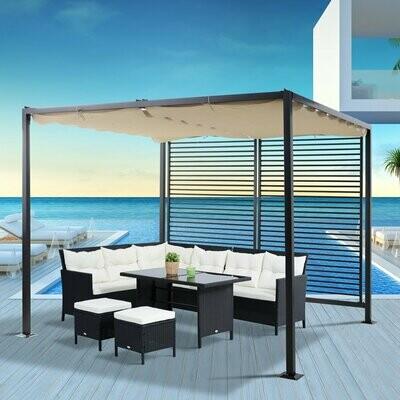 Outsunny® Pavillon Pergola Partyzelt Überdachung Einstellbares Stoffdach Polyester Beige