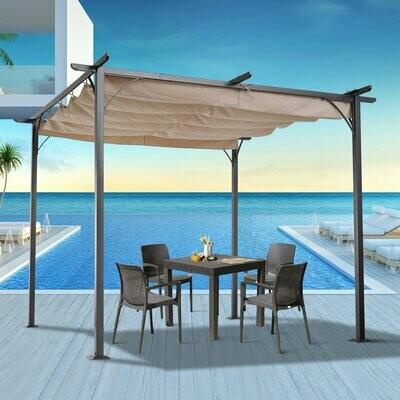 Outsunny® Cabrio-Pavillon Pergola Gartenpavillon mit Schiebedach per Seilzug wasserabweisend Sonnendach UV-Beständig Beige 3 x 3 x 2,3 m