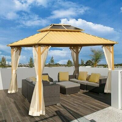 Outsunny® Luxus-Pavillon mit Seitenwände Partyzelt mit PC-Dach Festzelt Gartenlaube Aluminium