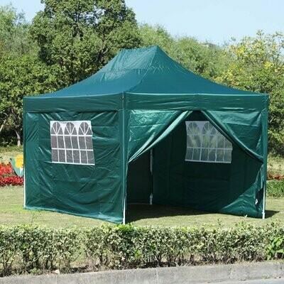 Outsunny® Faltpavillon inkl. 4 Seitenteilen Grün 3x4,5m Pavillon