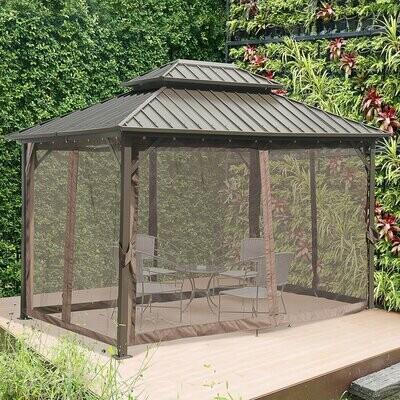 Outsunny® Pavillon mit Seitenwände Partyzelt mit Doppeldach Festzelt Gartenlaube Aluminium