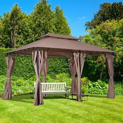 Outsunny® Gartenpavillon Partyzelt Gartenzelt Pavillon 4x3m mit Seitenwände Stahl Kaffee