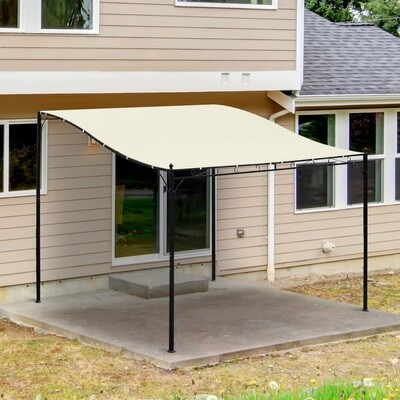 Outsunny® Pergola Terrassenüberdachung Pavillon 297x297cm Metall Creme