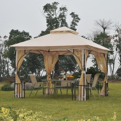 Outsunny® Gartenpavillon Partyzelt Festzelt Doppeldach 3x3m