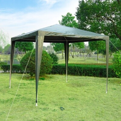 Outsunny® Gartenpavillon Partyzelt Gartenzelt Festzelt Zelt Klicksystem 90 g/m² PE-Plane Stahl Dunkelgrün 2,7 x 2,7 m
