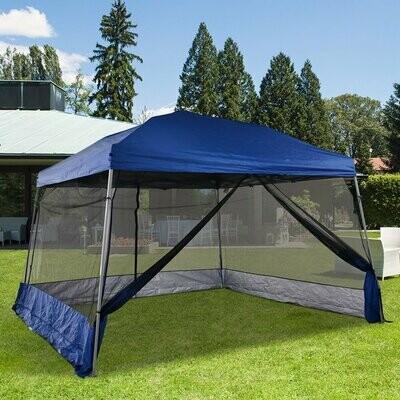 Outsunny® Faltpavillon mit 4 Netzwänden Gartenzelt Pop-Up-Zelt Höhenverstellbar Stahl Blau