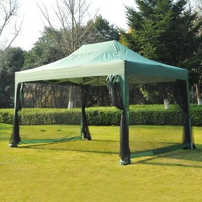 Outsunny® Faltpavillon mit Netzseitenteilen 3 x 4,5m mit Tragetasche grün
