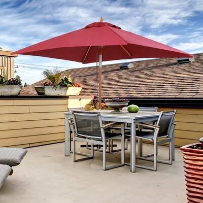 Outsunny® Sonnenschirm Gartenschirm Knickbar Sonnenschutz 3-stufig Holz+Polyester Weinrot