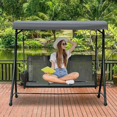 Outsunny® 3-Sitzer Hollywoodschaukel Gartenschaukel mit Sonnendach Ablage Aluminium Grau
