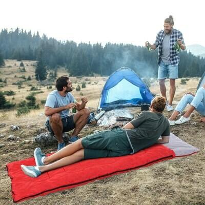 Outsunny® Schlafsack Mumienschlafsack für Camping 210cm Blau