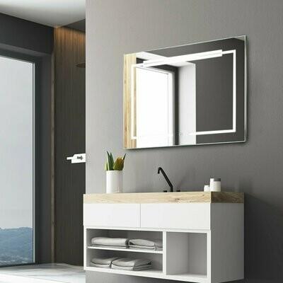 kleankin® LED-Spiegel Nebelfreier Wandspiegel Badspiegel Touch-Schalter Alu 70 x 50 cm