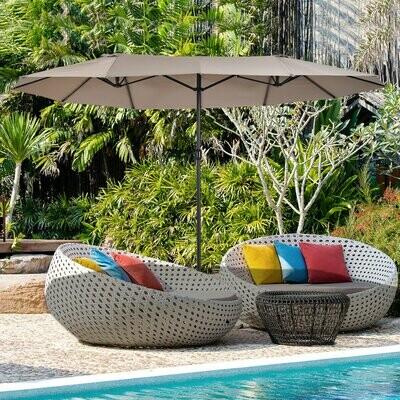 Outsunny® Sonnenschirm Doppelsonnenschirm Oval Handkurbel Sonnenschutz Stahl Kaffee
