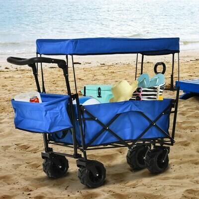DURHAND® Bollerwagen Handwagen Gartenwagen mit Dach Faltbar extra Staubox Oxford Blau