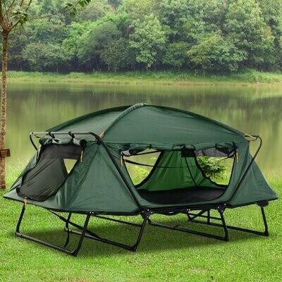 Outsunny® Feldbett Faltbares Campingbett 2-Schicht-Zelt Tragetasche Stahl Alu Oxford Grün