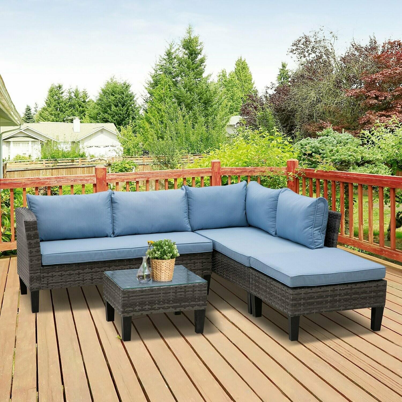 Outsunny® Rattan Sitzgarnitur 4-tlg. Sitzgruppe Gartenmöbelset mit Couchtisch Metall Blau