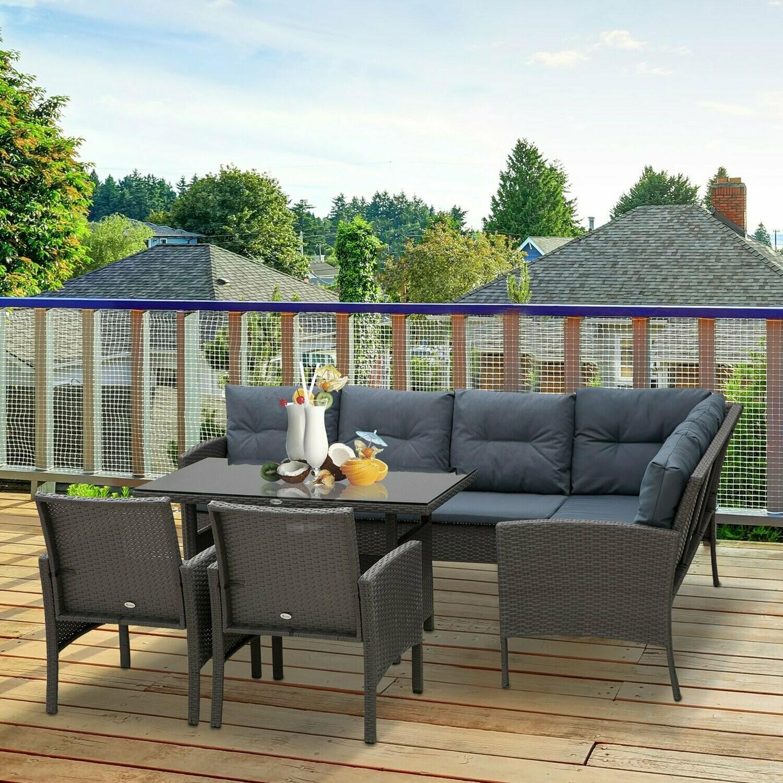 Outsunny® Rattan Gartenmöbel 5-tlg. Sitzgarnitur Outdoor-Sitzgruppe Loungeset Metall Grau