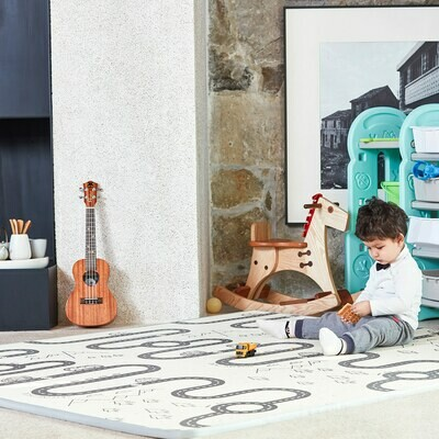 Baby Vivo Spielmatte / Spielteppich für Kinder doppelseitig mit Strasse 180 x 150 cm - Kaktus