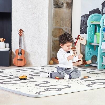Baby Vivo Spielmatte / Spielteppich für Kinder doppelseitig mit Strasse 200 x 180 cm - Alpaka