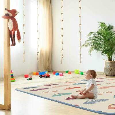 Baby Vivo Spielmatte / Spielteppich für Kinder doppelseitig mit Alphabet 180 x 150 cm - Autos