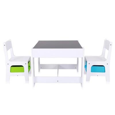 Baby Vivo Kindersitzgruppe mit multifunktionalem Tisch und 2 Stühlen aus Holz - Max