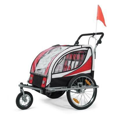 SAMAX Velo-Anhänger 360° drehbarer Fahrradanhänger 2in1 Jogger - in Rot - Silver Frame