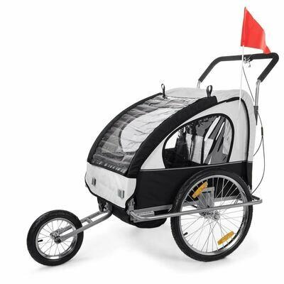 SAMAX Velo-Anhänger Fahrradanhänger 2in1 Jogger - in Weiss/Schwarz - Silver Frame