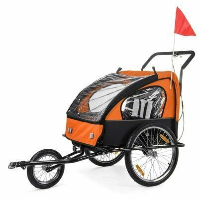 SAMAX Velo-Anhänger Fahrradanhänger 2in1 Jogger - in Orange/Schwarz - Black Frame