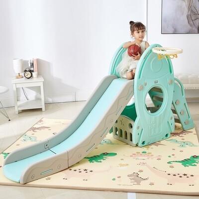 Baby Vivo Kinderrutsche / Rutsche mit Basketballkorb - Türkis / Grau
