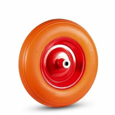 MAXCRAFT Schubkarrenrad mit Achse aus Vollgummi - Orange/Rot