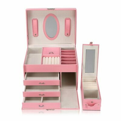 Makika Schmuckaufbewahrung / Schmuckkästchen viereckig mit 3 Schubladen und extra Schmuckbox - in Rosa