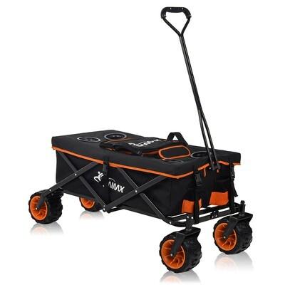 SAMAX Faltbarer Bollerwagen mit Kühltasche Offroad Cool - Schwarz / Orange
