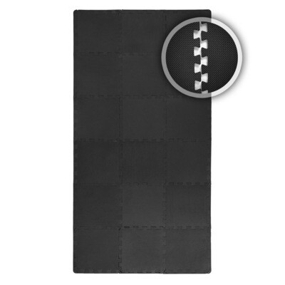 SAMAX EVA Schutzmatten Fitnessmatten Set 30x30 cm - 18 Stück in Schwarz