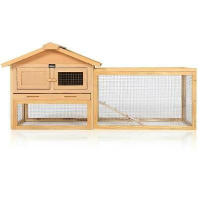zoomundo Hasenstall / Kaninchenstall mit aufklappbarem Dach und Freilaufgehege aus Holz