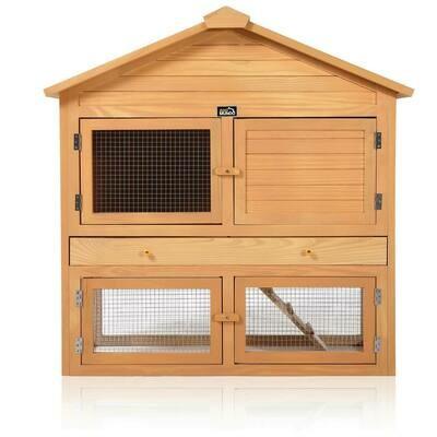 zoomundo Hasenstall / Kaninchenstall 4-Türig mit Freilaufgehege aus Holz