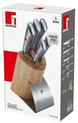 Bergner Messerset mit Holzblock (7 tlg)