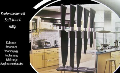 Cuisine Teflonmesser mit Ständer (6 Stück)